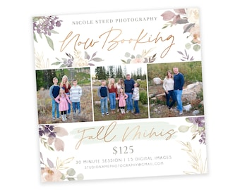 Fall Minis - Now Booking Template - Instagram Ad Template - Photography Marketing Ad - Photoshop Template - Mini Session Template