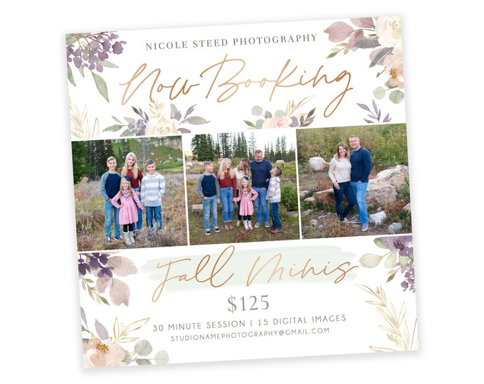 """Floral """"Now Booking Fall Minis"""" Ad"""