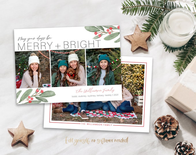 Holiday Card Template   Christmas Cards Template   Merry and Bright Holiday Card Template   Editable Photo Christmas Card Digital   Corjl