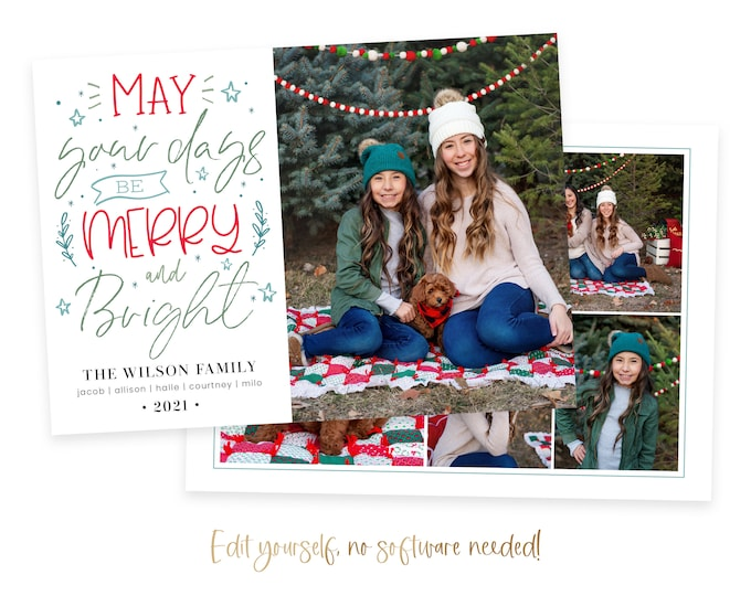 Christmas Card Template | Christmas Cards Template | Year in Review | Holiday Card Template | Editable Christmas Card | Digital | Corjl