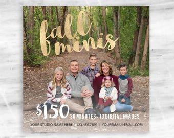 Fall Minis Marketing Template - Digital Design - Photography Marketing Ad - Advertisement Template - Fall Template