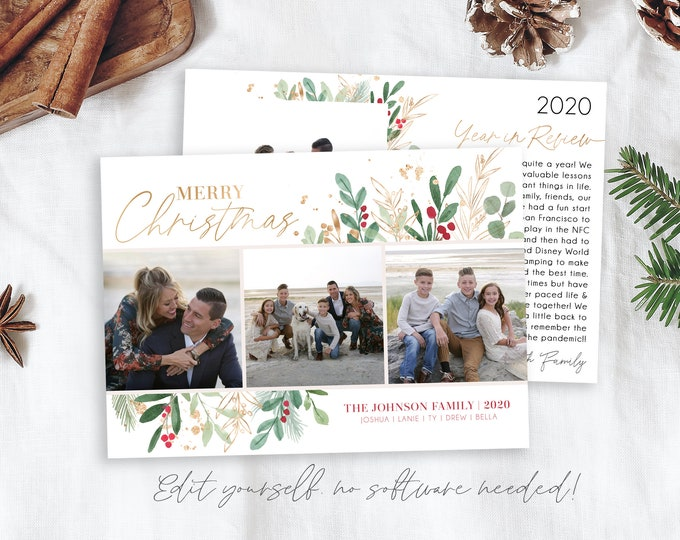 Year in Review Template | Christmas Cards Template 5x7 | Photo Christmas Card | Editable Christmas Card | Holiday Card Templates | Corjl