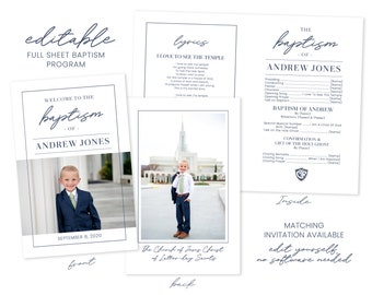 LDS Baptism Program | Baptism Program Boy | LDS Baptism Programs | Baptism Program Template | LDS Baptism | Boy Baptism Program | Corjl