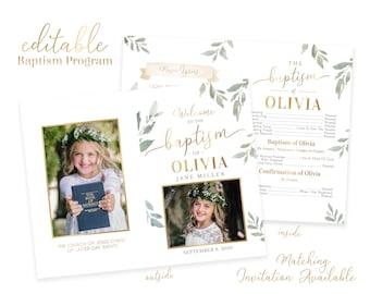 Baptism Program Girl - LDS Baptism Program -Editable Baptism Program - Floral Program Instant Download - Baptism Program Template - Corjl