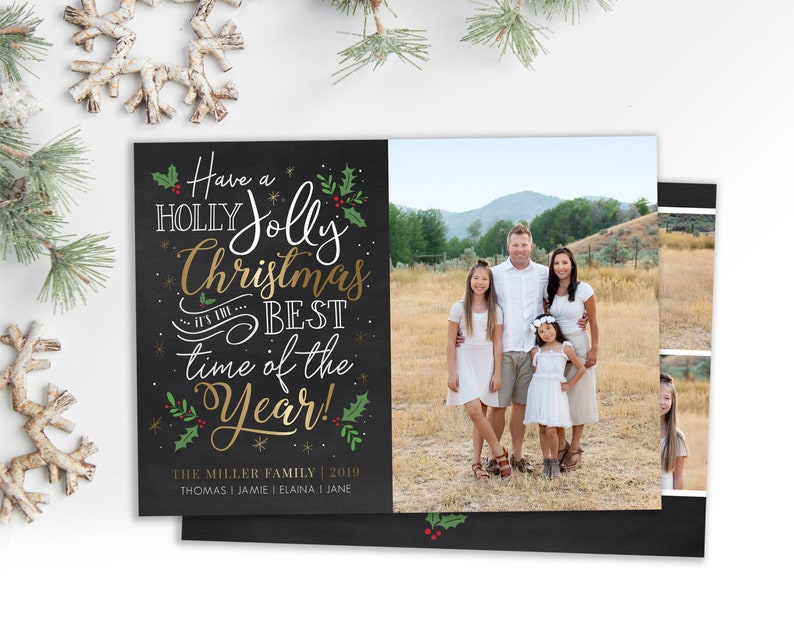 Christmas Card Template  Holiday Card  Holly Jolly Christmas image 0