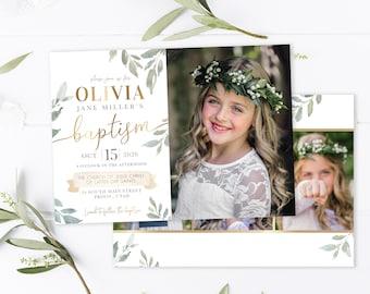 LDS Baptism Invitation | LDS Baptism Invitation Girl | Baptism Invitation | LDS Baptism | Baptism Invitations Girl | Olive Leaf | Photoshop