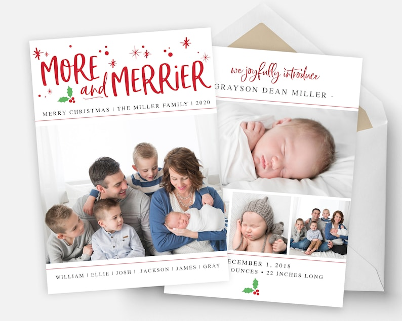 Christmas Birth Announcement Template  More and Merrier  image 0