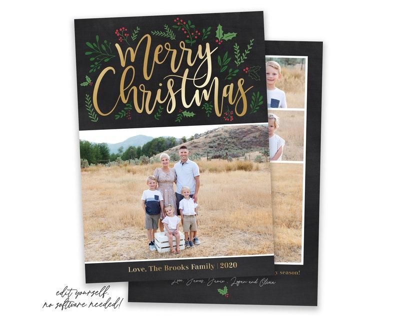 Christmas Card Template  Merry Christmas Cards  Photo image 0