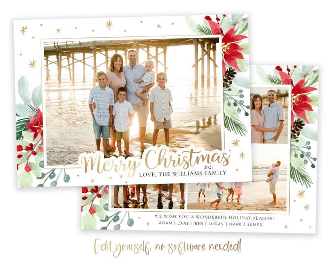 Christmas Card Template | Christmas Cards Template 5x7 | Photo Christmas Card | Editable Christmas Card | Holiday Card Templates | Corjl