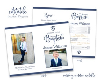 LDS Baptism Program | Baptism Program Boy | LDS Baptism Program | Baptism Program Template | LDS Baptism | Boy Baptism Program | Corjl