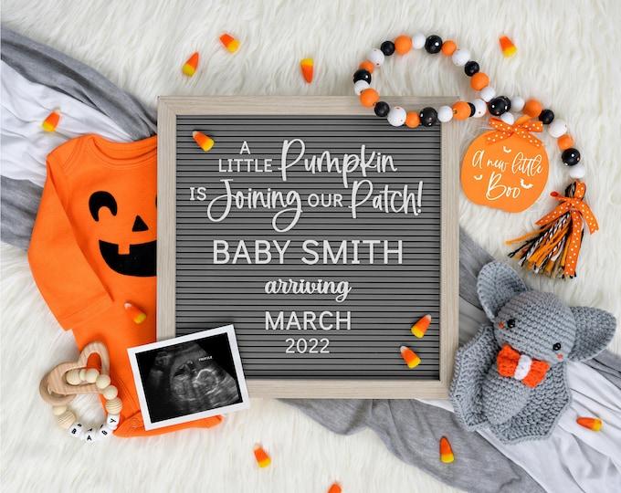 Halloween Digital Pregnancy Announcement   Digital Baby Announcement   October Pregnancy Announcement   Social Media Gender Reveal    Corjl
