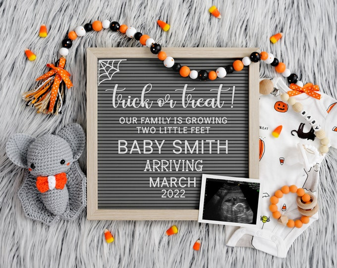 Halloween Pregnancy Announcement for Social Media   Digital Baby Announcement   October Pregnancy Announcement   Gender Reveal    Corjl