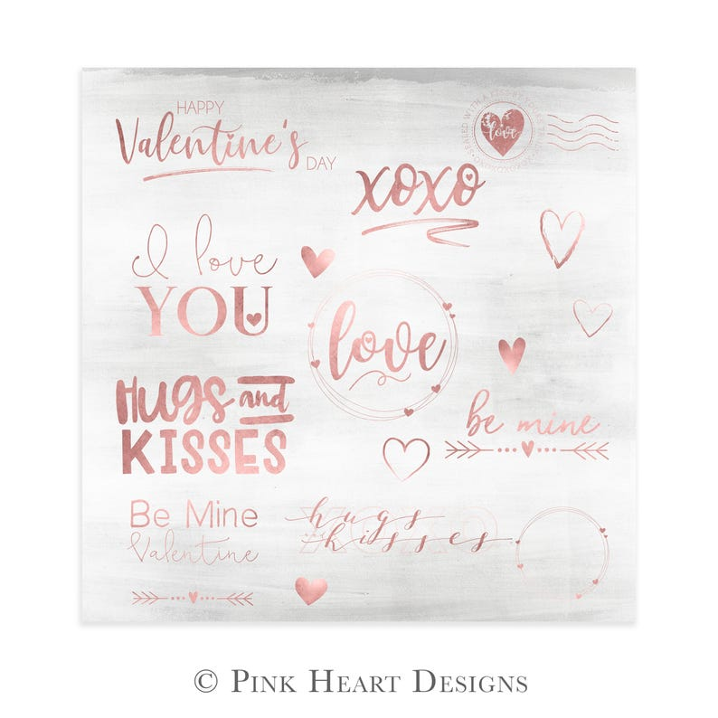 Gold Valentine's Day Overlays  Love Word Art  Overlays image 0