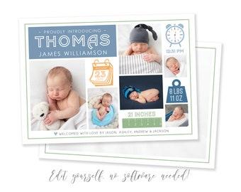 Baby Boy Birth Announcement Template - Stats Newborn Announcement - Boy Birth Announcement - Photo Birth Card - DIY Template - Corjl