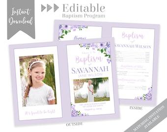 Baptism Program Girl, LDS Baptism Program, Editable PDF & Photoshop , Floral Program Instant Download , Photo, Girl Baptism Program Template