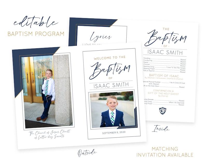 LDS Baptism Program  Baptism Program Boy  LDS Baptism image 0