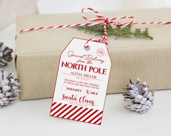 Printable Santa Gift Tag - Customizable Santa Tag - Printable Christmas Tag - Christmas Gift Tag - Instant Download