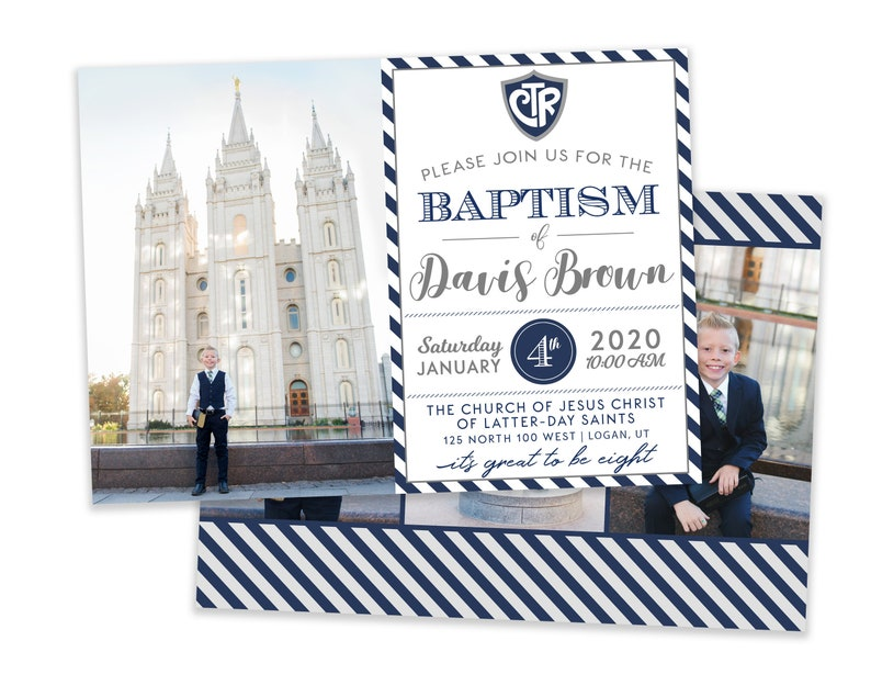 LDS Baptism Invitation Boy  Baptism Invitation  LDS Baptism image 0
