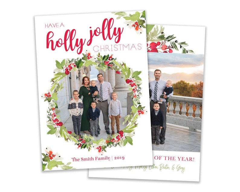 Christmas Card Template Wreath Holly Jolly Christmas | Etsy