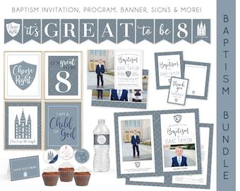 LDS Boy Baptism Kit | LDS Baptism Invitation Boy | Baptism Boy | Editable Baptism Program | Baptism Template | LDS Baptism Printable | Corjl