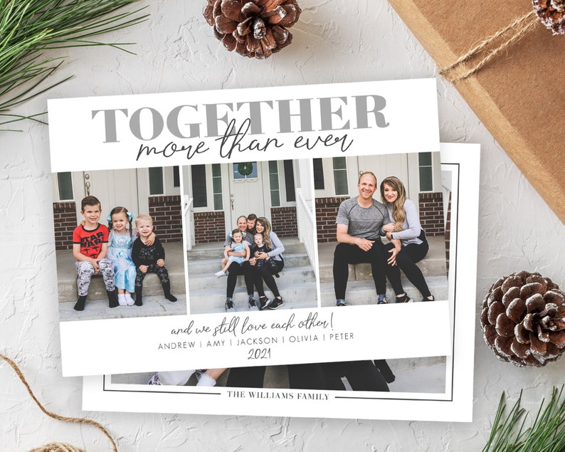 Funny Covid Christmas Card Template  Together More Than Ever image 0