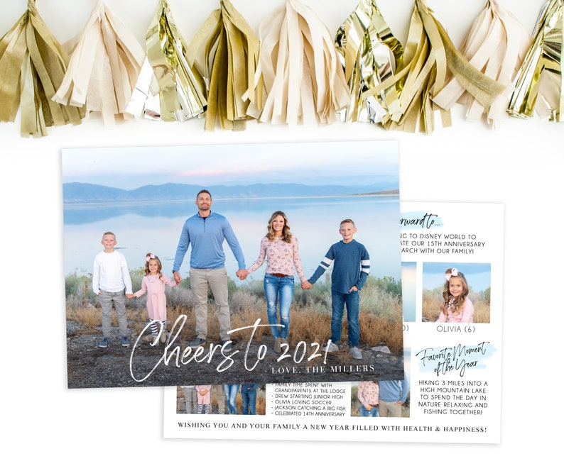 2021 Happy New Year Photo Card Template New Years Card Year image 0