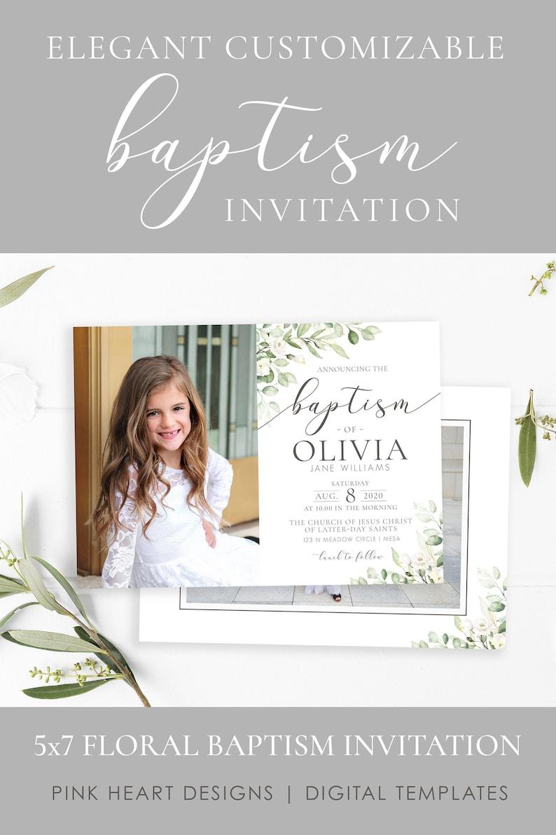 Elegant LDS Baptism Invitation  LDS Baptism Invitation Girl  image 0