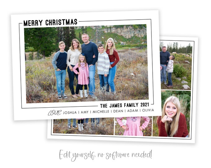 Minimalist Christmas Card Template | Christmas Cards Template 5x7 | Photo Year in Review | Editable Christmas Card | Simple | Corjl