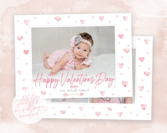Valentine's Day Card Template | Valentine's Day DIY Template | Valentine's Day Photo Card | Instant Download | Watercolor Hearts Card