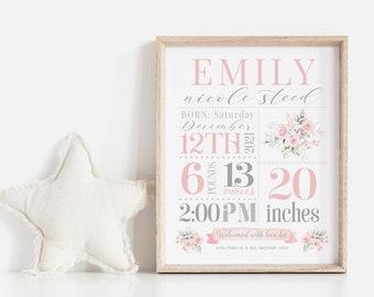 Girl Baby Stats Sign | Nursery Stats Wall Art | Birth Announcement Print | Nursery Decor | Newborn Printable Personalized Baby Gift | Corjl