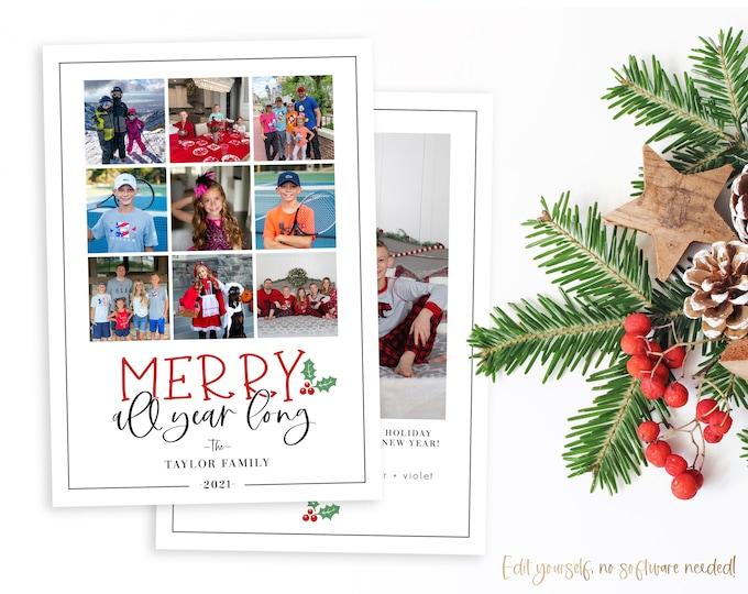 Christmas Card Template | Christmas Cards Template | Wonderful Time | Holiday Card Template | Editable Christmas Card | Digital | Corjl