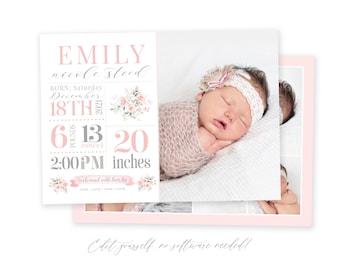 Baby Birth Announcement Template Girl - Newborn Stats Announcement - Girl Birth Announcement - Photo Birth Announcement - Floral - Corjl