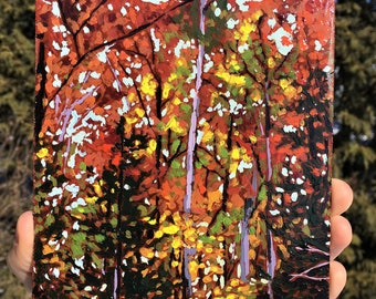 Acrylic Painting, Fine art, Landscape, Forest Painting, Fall Colors, Original