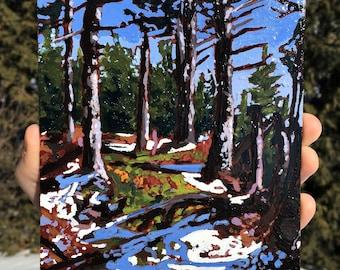 Acrylic painting, Fine art, Landscape, Mountain painting, New Hampshire, White Mounatins, Original