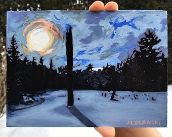 Acrylic Painting, Fine Art, Landscape, Forest Painting, Winter, Snow, Original