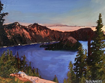 Oil painting, Fine art, Landscape, Mountain painting, Crater Lake National Park, Original