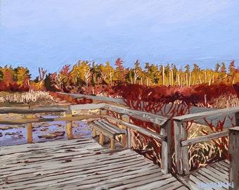 Oil painting, Fine art, Landscape, Lake painting, Algonquin Provincial Park, Sunset, Original