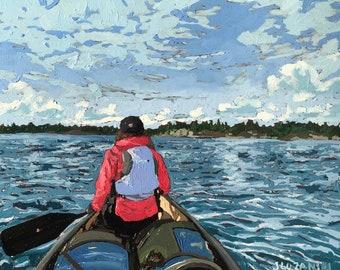 Oil painting, Fine art, Landscape, Lake painting, Killarney Provincial Park, Canoe, Original