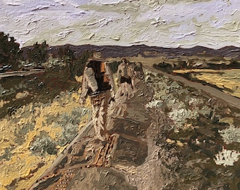 Oil painting, Fine art, Landscape, Desert painting, California, Original