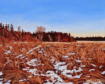 Oil painting, Fine art, Landscape, Golden hour art, Ottawa, Sunset, Original