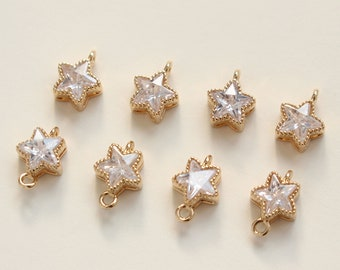 2pcs-17mmX15mm Bright Gold Plated over Brass Star Cubic Charm connector pendant Connector Jewerly Supply K1815G