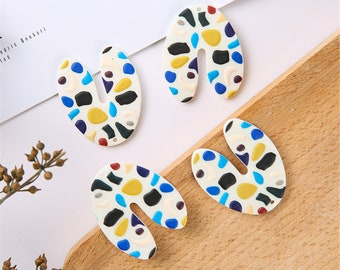 6pcs U shape Charms Geometric Cellulose Acetate Black and white polka dot acrylic Charm Jewelry Charm Diy Jewelry Accessories Minimalist