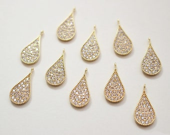 Large 3455022  Single Lined Cubic Teardrop Rhodium Plated Brass with CZ Pendant 14.3mm x 23.2mm  4.1g  2pcs