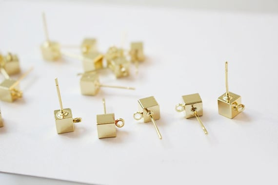 18K Real Gold Plated Brass RGP1091 Brass  Earring Post and Earring Stud 41.89x12.63x1.51mm Brass Earing wire Jewelry Supplie