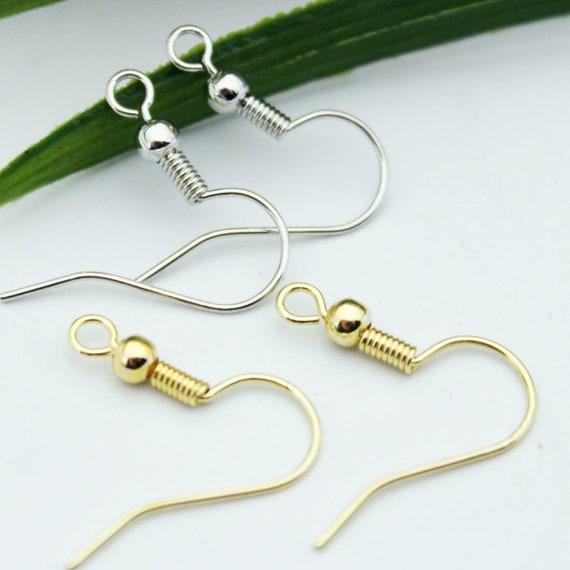 100pcs Earring Hook Thread Ear Wire DIY Craft Jewelry Making Supply Brass