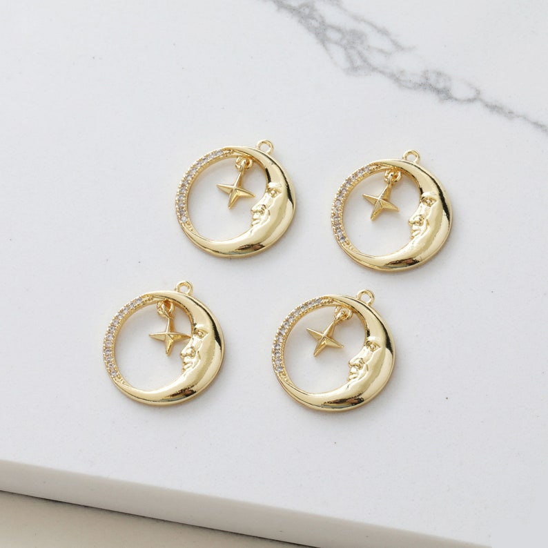 6pcs Nickel Free Real 18K Gold Plated Star Charm,Gold Initial Charm,Vermeil moon Pendant,Tiny Gold Star,cz pave star Charm