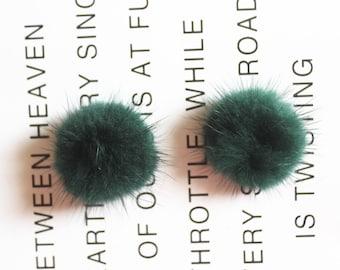 5PC 4cm Forest green Mink furry Pompom Charm Pendant Fur Ball Charm Pom Pom Charms Paste Pom Jewelry Supplies