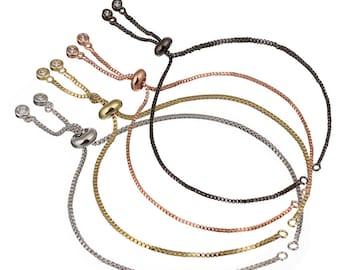 5PCS/10PCS/50PCS. Sliding Adjustable Bracelet Making Chain, half-finished bracelet, Rubber stopper beads, connector link finding no tarnish