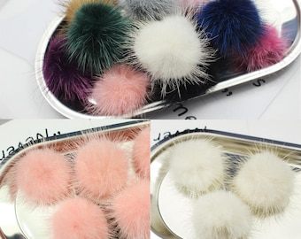 6PCS, 40MM Natural Mink Fur Pom Pom Natural Fur Pompom Fur Ball Pompom for Hat Hairy Ball Fox Fur Pompom Variety of Colours