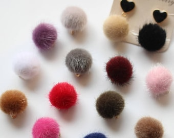 10pcs Fur Ball Charm Pom Pom Charms Fuzzy Ball Charm Hair Ball Earring Charms Earring Findings DIY Jewelry Pendants Accessories Findings